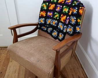 Vintage Black and Multi Color Crocheted Afghan