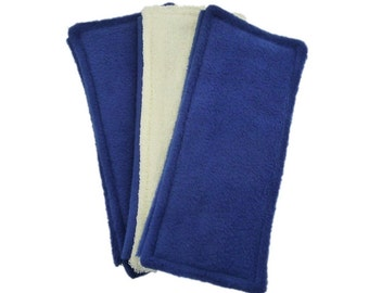 3 FLEECE & TERRY Double Sided Reusable Swiffer Pads, Navy Blue or Mix it Up, EcoGreen Pads, washable Swiffer Sweeper pads, mop and dust pads