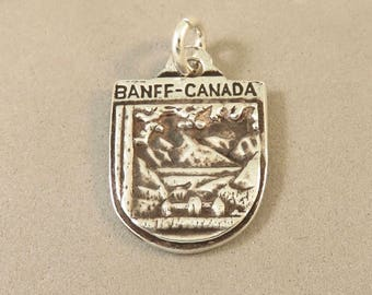 BANFF CANADA .925 Sterling Silver Charm Pendant Alberta National Park Lake Louise Travel Places Shield New tr180