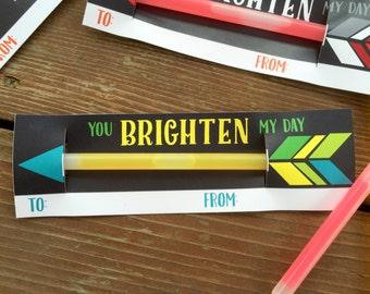 Instant Download DIY Kids Valentine Cards. Glowstick Valentine Cards. Printable Valentines for kids. You brighten my day.