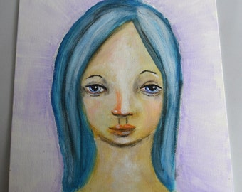 CLEARANCE SALE Victoria, 8x10 inch Original Painting, Small Work, Girl Portrait Painting, Woman's Face, Blue Hair, Blue Eyes, CraftyMoira