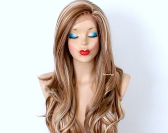 Lace Front wig. Brown / Blonde wig. Long curly dirty blonde wig, Durable Heat resistant synthetic wig