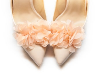 Salmon Pom Pom Flowers Shoe Clips Wedding Shoe Clips Accessories Mififi Shoe Clips