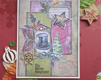 Card winter magic hat and Christmas tree Vintage