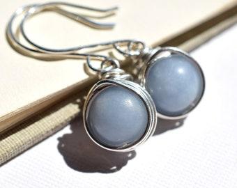 Angelite Earrings, Sterling Earrings, Blue Stone Earrings, Silver Wire Wrapped Earrings, Periwinkle Blue Earrings, Light Blue Gray Earrings