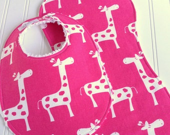 Baby Girl Bib & Burp Cloth Set  - Chenille Super Absorbent - Triple Layer Design - Candy Pink Giraffe