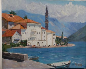 Perast, Montenegro, landscape, maritime, oil painting on canvas 40x50 cm, original, signed by the artist