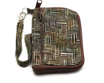 iPod Case, iPhone Cell Phone Case, Smartphone Phone, Wristlet, Brown and Green Batik