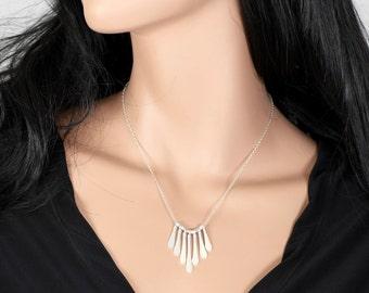 Gold Paddle Necklace, Fringe Necklace, Paddle Necklace, Paddle Charm Necklace, Gold Necklace, Simple Necklace, Minimalist Necklace.