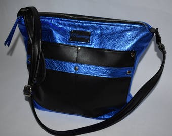 Black and Royal Blue Metallic  Crossbody Leather Purse