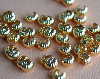 100pcs 4mm Crimp Cover Gold Plated Brass Corrugated Knot Covers Jewelry Findings