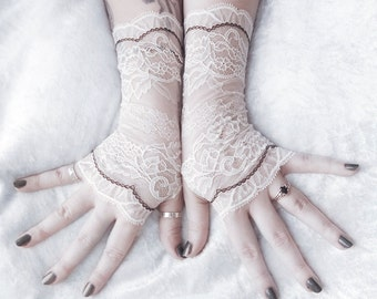 Lace Gloves Fingerless | Off White Pale Ivory Floral Black | Bridal Christmas Woodland Wedding Holiday Steampunk Arm Warmer Gothic | Fated