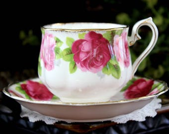 "DAMAGED Tea Cup and Saucer, ""Old English Rose"" Fine Bone China Teacup, Royal Albert 14086"