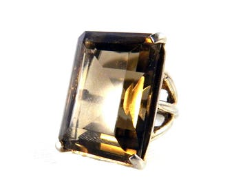 Vintage Huge Step Cut Faceted Smokey Topaz Solitaire Ring -  Synthetic Gemstone - Golden Brown - 16 Carats - Adjustable