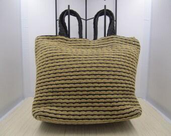 Liz Claiborne soft woven black and creamy gold market bag