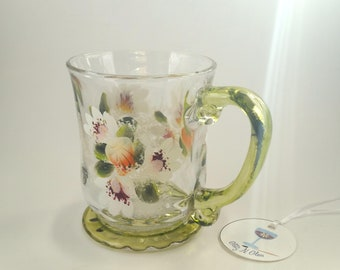 Tropicana Roses and Shasta Daisies Glass Coffee Mug