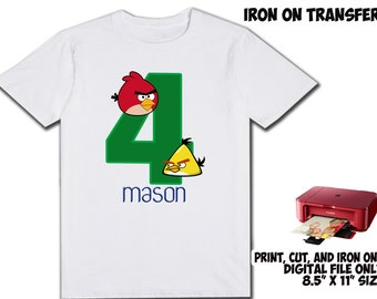 Angry Birds Personalized Name and Age - For Boy - DIY Printable Iron Transfer - Angry Birds Printable Birthday Party Shirt Transfer