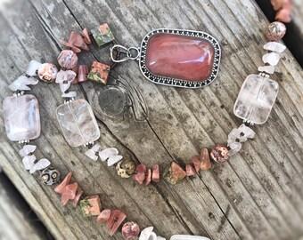 "OASIS Necklace (Cherry ""Quartz"" Glass, Rhodochrosite, Rose Quartz, Leopardskin Jasper, Unakite, Sterling Silver)"