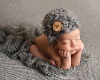 Gray Newborn Fluffy Button Hat Photography Prop