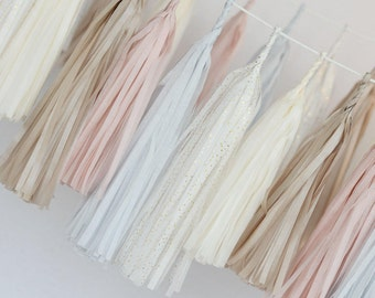 Custom color Tissue paper tassel  garland-fully assembled -wedding decorations -party decor- buntings-backdrop -fringe garland-1st birthday