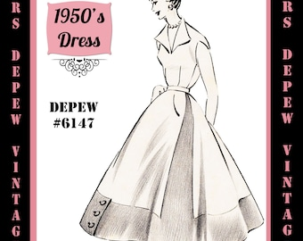 Vintage Sewing Pattern 1950's Contrast Hem Dress in Any Size - PLUS Size Included - Depew 6147 -INSTANT DOWNLOAD-