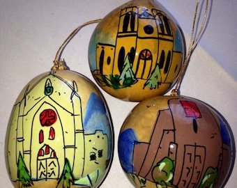 Set of three- Loretto Chapel, St. Francis of Assisi, San Miguel, Santa Fe, NM  Hand-Painted Gourds Christmas Ornament by Sandy Short