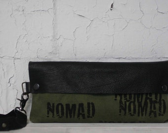 Wristlet Clutch Bag / Army Green Black Leather Clutch / Canvas Pouch / Printed Bag