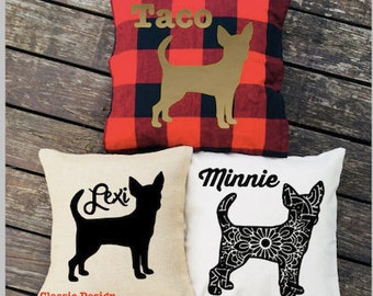 Personalized Chihuahua Pillow - Silhouette Pillow - Dog Pillow Cover - Burlap Pillow - Buffalo Plaid Pillow - Decorative Pillow - Dog Decor