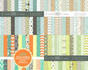 Digital Scrapbooking Combo Deal Printable Pattern Paper Pack Instant Download Fresh, Lincoln, Think Spring, Zippity Doo Dah