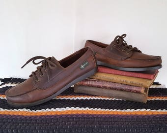 Vintage 90s Eastland Brown Leather Loafers Boat Deck Shoes Classic Preppy 1990s Moc Toe Size 8 Narrow
