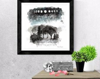 Giclée Art Print - Moon phase forest - Watercolor forest- Splatter Art -  Mixed Media - By Rachael Caringella  Tree Talker Art