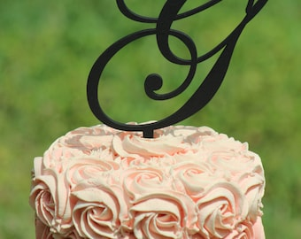 Black Monogram Wedding Cake topper - Wooden cake topper - Personalized Cake topper