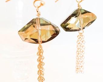 Cristal Swarovski - boucles marron cristal boucles d'oreilles - Boucles d'oreilles or bruns - or gland brun Sparkle boucles d'oreilles