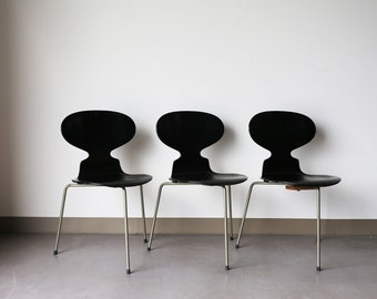 Sold *** Set of 3 Ebony Fritz Hansen Ant Chair by Arne Jacobsen