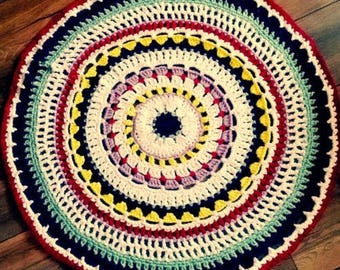 "Vintage Shabby country house-Crochet Rug ""Mandala""-about 87 cm"