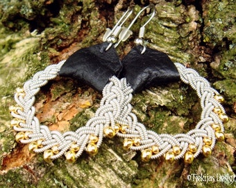 Lapland Beauty GULDFAXE Pewter Braid Black Reindeer Leather Sami Earrings with 14K Goldfilled Beads - Handcrafted Natural Viking Jewelry