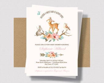 WOODLAND BABY SHOWER Invitation for Girls, Deer Baby Shower Invitation For Girl, Forest Animal Baby Shower Deer   Baby Shower Mint Pink 0260