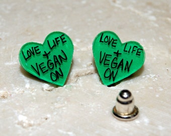 Love Life & Vegan On -  Illustrated Hand-Made Post Earrings