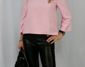 Pink Hi - Low Women Blouse / Loose Elegant Tunic Top / Long Sleeves Shirt / Party Blouse / Casual Top / EXPRESS SHIPPING / LA 1008