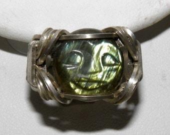 Carved Labradorite Cabachon Argentium Silver Ring, US size 6