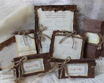 Plantable semillas invitación de la boda con guita y ramitas