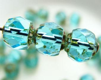 6mm Renaissance Beads Czech Glass Fire Polish Aquamarine Picasso Carved (Qty 12) SI-6RFP-AQP