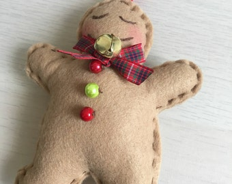 Gingerbread man ornament, felt ornament, Handmade ornaments