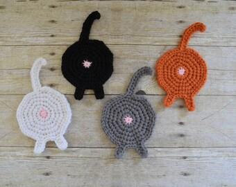 Cat Butt Coaster - Mug Rug - Drink Coasters - Cat Coasters - Coasters - Drink Coasters - Funny Coasters - Table Protector