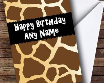 Giraffe Animal Print Personalised Birthday Card