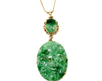 Vintage Green Natural Jadeite Jade Carved Oval in 14k Yellow Gold Pendant Necklace 1940-1950s