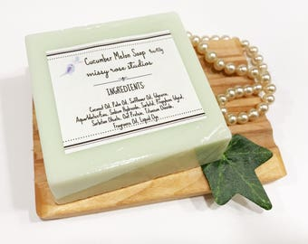 cucumber melon soap, melt and pour soap, bar soap, sls free soap, vegan soap, coconut oil soap, housewarming gift, bathroom decor, skincare
