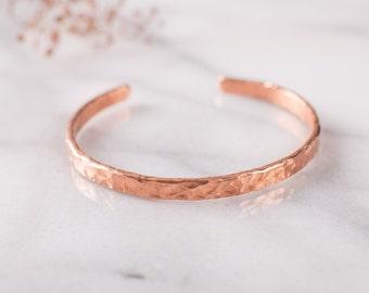 Flat Hammered Copper Bracelet