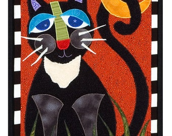 Textile Collage Print of Cat - Moony