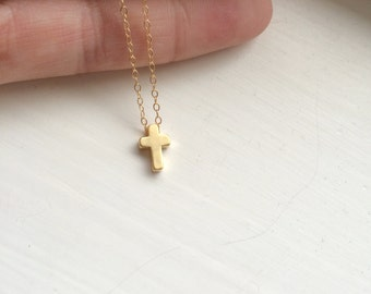 Tiny Gold Cross Necklace, Gold Filled Necklace, Silver Cross Necklace, Dainty Light Necklace, Small Dainty Necklace, Good Luck Necklace